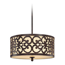 """Minka Lavery - Iron 3-Light 16"""" Wide Nanti Pendant Chandelier - From the Minka-Lavery chandeliers collection this pendant chandelier design is sure to brighten your home with style. It features an Iron Oxide finish frame and canopy. The pendant is made from etched vanilla glass with a decorative scroll overlay. Takes three 100 watt bulbs (not included). 16"""" wide 16"""" high glass. Variable hang height.  Nanti Pendant Chandelier.  By Minka Lavery chandeliers.  Iron Oxide finish frame and canopy.  Etched vanilla glass.  Decorative scroll overlay.  Takes three 100 watt bulbs (not included).   16"""" wide 16"""" high glass.   Variable hang height."""