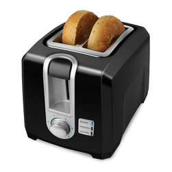 Black & Decker - Black & Decker T2569B 2 Slice Toaster - Black - 050875803459 - Shop for Toasters from Hayneedle.com! Stumble out of bed and make your breakfast at the touch of a button with the Black & Decker T2569 2 Slice Toaster - Black. This black toaster makes it easy to enjoy bagels breads waffles and more with easy preset controls. The toaster has self-centering extra-wide slots to hold two pieces of the largest Texas toast out there. Use the electronic toast control the frozen function and Bagel Mode to suit your needs for the perfect level of toasting. The toaster also features a function indicator light and a toast shade selector. The toaster includes a one-year warranty. Weight: 7 pounds. Dimensions: 16L x 12W x 10H inches.Black and Decker/ApplicaA household name with the reputation for quality and innovation Black & Decker is a leader in small home appliances and number one in a wide range of products for the home. As the exclusive licensee of Black & Decker household products in North South and Central America (excluding Brazil) Applica offers household solutions in award-wining designs to help make life easier and more comfortable at home. From irons toaster ovens and can openers to cooking appliances and food steamers Applica is dedicated to bringing you the cutting-edge Black and Decker products that streamline your daily life and make being at home more enjoyable.
