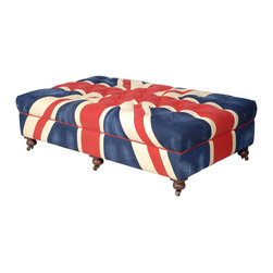 Kathy Kuo Home - Bensington Large Union Jack Coffee Table Ottoman - Now you can enjoy life from across the pond no matter where you reside. Proudly sporting the Union Jack, this coffee table ottoman would look fabulous in your den or reading room.