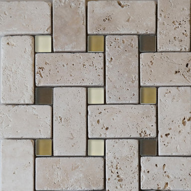Scabos Tile - Light Travertine Glass Basket Mosaic - Light Ivory travertine with brown frosted glass basket weave mosaic tile