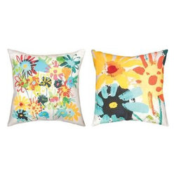 Pair of `Dizzy Daisy` Flower Field Indoor / Outdoor Throw Pillows - This pair of 18 inch by 18 inch woven throw pillows adds a wonderful accent to your home or patio. The pillows have ClimaWeave weatherproof exteriors, that resist both moisture and fading. The fronts of the pillows feature a watercolor painting of a field of daisies, the back features a trio of watercolor daisies. They have 100% polyester stuffing. These pillows are crafted with pride in the Blue Ridge Mountains of North Carolina, and add a quality accent to your home. They make great gifts for flower lovers.