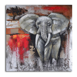 Elephant encounter Hand Painted Canvas Art - Out of Africa and right into your home! This beautiful ready-to-hang piece is a detailed study of a close encounter. The gorgeous reds contrast with the stark grays and blacks giving this portrait a powerful presence on your wall.