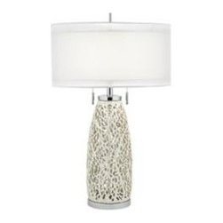 "SeaSpray Table Lamp - Seaspray Table Lamp Has A Chrome Base With A Pearl White 32""H"