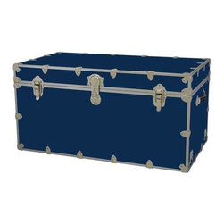 Rhino - Toy Trunk - Navy Blue (Large) - Choose Size: LargeWheels are not included. Includes two nickel plated steel universal wheel adapter plates. Wheel adapter plates mounted on side of the trunk. American craftsmanship. Several obscure ventilation holes to provide plenty of air should your child ever go into the trunk and have someone close it on them. Strong hand-crafted construction using both old world trunk making skills and advanced aviation rivet technology. Steel aircraft rivets are used to ensure durability. Heavy duty proprietary nickel plated steel latches and hardware. Heavy duty nickel plated steel lid hinges plus lid stays for keeping lid propped open. Tight fitting steel tongue and groove lid to base closure to keep out moisture, dirt, insects, odors etc.. Stylish lockable nickel plated steel trunk lock has loop for attaching padlock. Discrete ventilation holes. Special soft-close lid stay. Nylon cordura exterior laminate. Lifetime warranty. Made from 0.38 in. premium grade baltic birch hardwood plywood with nickel-plated steel hardware. Large: 32 in. W x 18 in. D x 14 in. H (29 lbs.). Extra large: 36 in. W x 18 in. D x 18 in. H (36 lbs.). Jumbo: 40 in. W x 22 in. D x 20 in. H (67 lbs.). Super jumbo: 44 in. W x 24 in. D x 22 in. H (69 lbs.)Safety First! A superior quality, heavy-duty toy trunk that¢s designed for a child¢s well-being, yet looks handsome in any room. Toy Trunk is constructed from the highest quality components. This treasure chest incorporates several safety features to insure that it¢s child friendly. Those include small ventilation holes should a child ever decide to climb in and take a nap, as well as specially designed, American made soft-close lid stays. The lid stays keep the lid from slamming shut. In fact, the lid will only close if you push it down. This will keep small hands protected. Also, the toy trunk will not lock on its own. Toy Trunk are conveniently sized and ruggedly built. They¢re strong enough to stand on! Best of all, these advanced design wheels do not add any extra height to the trunk. Even with the wheels on, the trunk is stackable.