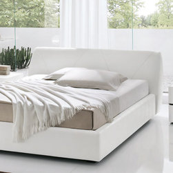 SMA Mobili Strip Modern White Eco-Leather / White Matt Lacquer Bedroom Set - Covered in Kaiman Eco-Leather with crocodile leather effect, the Strip modern bed by SMA Mobili is must-have for those who like luxury in furniture and decor. The set includes Queen bed, 2 Nightstands, and Dresser.