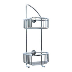 """nie wieder bohren - Germany - no drilling required Corner Shower Caddy - Rustproof - no drilling required for this premium corner bath caddy. Made by nie wieder bohren Germany and mounts with a patented adapter and commercial adhesive. Installs in a minute, no drilling required and is removable as needed. This corner unit has 7"""" deep basket with 9-1/4"""" shelf spacing for ample room for all your shower products. Designed by nie wieder bohren Germany, this mounts on all premium surfaces without drilling. The patented system uses a adapter and commercial adhesive used in the auto industry in Germany. The system installs in minutes, no measuring, no tools and has a lifetime limited warranty. Constructed of rustproof solid brass and finish in lifetime chrome or bronze. It is the best shower caddy you can buy and no drilling required! See the video on how it works. Simple, Safe, Secure."""