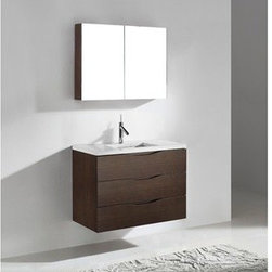 """Madeli - Madeli Bolano 36"""" Bathroom Vanity with Quartzstone Top - Walnut - Madeli brings together a team with 25 years of combined experience, the newest production technologies, and reliable availability of it's products. Featuring sleek sophisticated lines Madeli vanities are also created with contemporary finishes and materials. Some vanities also feature Blum soft-close hardware. Madeli also includes a Limited 1 Year Warranty on Glass Vessels, Basin, and Counter Tops. Features Wall Mounted Three Drawer Vanity Soft-close drawer glides Walnut finish 1-1/4""""H Quartzstone Countertops come in White or Soft Grey finish Quartzstone Countertops come with single faucet or 8"""" widespread faucet holes Ceramic undermount sink with overflow Faucet and drain are not included No backsplash Matching mirror and medicine cabinet available Limited 1 Year Warranty on Glass Vessels, Basin, and Counter Tops How to handle your counter Spec Sheet Installation Instructions"""