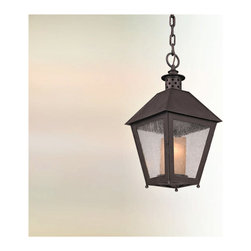 Troy Lighting - Sagamore Hanger Lantern - Sagamore Hanger Lantern features a hand-forged iron frame in centennial rust finish with a clear seeded glass shade. Available in an incandescent or compact fluorescent versions. Either one 75-watt, 120 volt A19 medium base incandescent bulb or one 18-watt, 120 volt GU24 compact fluorescent bulb is required, but not included. Dimensions: 10W x 20H.