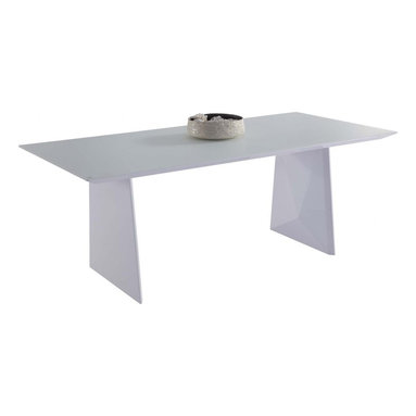 White Line Imports - Samantha High Gloss White Dining Table - Dining table is the key element of any dining room that sets the style and mood of the whole space. This dining table has stylish design and top that will comfortably accomodate even the largest family. The table features rectangular top and legs with unique geometric design.