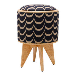 Pomada - Waves Stool Ottoman - Look, there at your feet! It's a seat. It's a box. It's super ottoman! The sturdy base is made from OSB (oriented strand board) and covered in hand-printed fabric with stylish waves. The padded top flips to become a table. Everything sits on ecofriendly OSB legs.