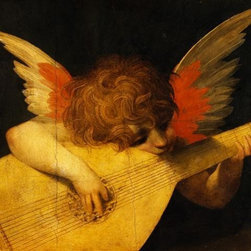 Wallmonkeys Wall Decals - Fine Art Murals Musical Angel by Rosso Fiorentino  - 52 Inches W x 43 Inches H - Easy to apply - simply peel and stick!