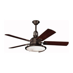 "Kichler - 52"" Kittery Point 52"" Ceiling Fan Olde Bronze - Kichler 52"" Kittery Point Model 300020OZ in Olde Bronze with Reversible Walnut/Medium Cherry Finished Blades."