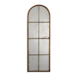 Uttermost - Amiel Arched Brown Mirror - This antiqued mirror features a hand forged metal frame finished in a heavy, maple brown wash with gold highlights and burnished details.