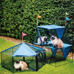 Kittywalk - Kittywalk Carnival Pet Enclosure Multicolor - KWS105-110 - Shop for Outdoor Playhouses from Hayneedle.com! This fun and energy-inducing Kittywalk Carnival Pet Enclosure is a combination of the Kittywalk carousel and Ferris wheel and includes a connecting sleeve that makes both accessible to each other. The enclosure is easy to set up with safety clasps on all of its zippers. Made from water-resistant fabric and reinforced PVC mesh the enclosure includes bell-topped colorful flags that double as decoration and playtoy. Bound to ensure play for hours the contraption includes a handy pass-through porthole so cats can easily travel to and from the carousel and Ferris wheel.