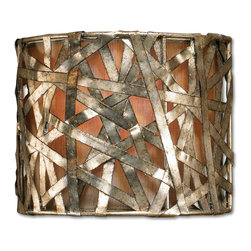 Uttermost - Alita Champagne 1 Light Wall Sconce - Could your downstairs hallway or entry use some light? Wrapped in a wild web of silver-leaf metal ribbons, this metal wall sconce spins some visual flair, while a champagne-colored inner shade creates a warm elegant glow.