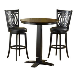 Hillsdale - Hillsdale Dynamic Designs 5 Piece Pub Table and Stools Set - Hillsdale - Pub Sets - 4975PTBBLKSVD - The Dynamic Designs Pub Table Set is sleek and contemporary with a casual style that will fit in anywhere. The pub table has a pedestal base with a squared tapering center column. With its warm finish and intricately designed chairs this pub table set is sure to be the focal point of the family room kitchen or den.
