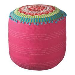 Full Bloom Pouf - The Full Bloom Pouf will not only incorporate bright and lively colors into your home, it also adds texture with its beautifully embroidered floral design. You and your guests can kick up your heels in style while appreciating natural beauty.