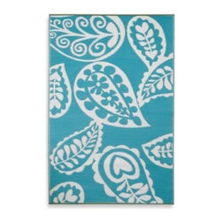Fab Habitat - Fab Habitat Paisley Indoor/Outdoor Rug in River Blue with White - Add a touch of Persian-inspired flair to any room or outdoor space with this unique, recycled Paisley teardrop rug. This soft, plastic rug is durable and unaffected by moisture or mildew when outside.