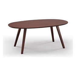 Greenington - Greenington | Currant Oval Coffee Table - Inspired by Danish Mid-Century Modern style, the Currant Oval Coffee Table presents simple lines and warm wood tones. The generous surface of the oval top reveals the grain of the bamboo, while the four minimal angular legs keep the visual feel of the table light. This environmentally friendly coffee table, created from Greenington's Classic Moso Bamboo, is available in two finishes.Greenington furniture is made out of 100% Moso Bamboo without added fillers, fiberboard, MDF or other materials. Bamboo is a fast growing, fully sustainable, environmentally friendly and renewable resource. Out of the 1200 species of bamboo, Moso is the best species for furniture production due to its hardness, durability, and stability, and it is not a food source for Pandas. Periodic cleaning can be done using a soft cloth and a gentle cleaner designed for wood furniture.