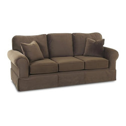 Klaussner - 87 in. Upholstered Sofa in Chocolate - Woodwin sofa collection with its signature blend of quality, value and style.