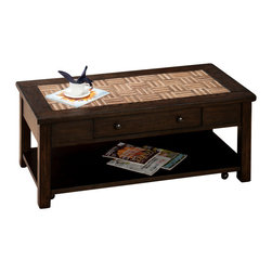 Jofran - Jofran Barkley 4 Piece Coffee Table Set w/ Wood Tile Top - Solid Asian Hardwood, Elm Veneer and Wood Tiles. Tile Resemble Wood.
