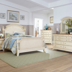 Homelegance - Homelegance Inglewood II 5 Piece Poster Bedroom Set in Antique White - Sophistication merges with elegant lines and classic shapes in the Inglewood II Collection. The boldly designed lines of the traditional breakfront posts of the panel bed lend an air of casual elegance. Wood and metal drawer pulls accent the traditional case pieces. Inglewood II Collection is presented in an antique white finish with cherry finish case goods' top. - 1402KW-PPB-5-SET.  Product features: Elegant lines and classic shapes ; Boldly designed lines of the traditional breakfront posts ; Four Poster Panel Bed; Antique White finish; Available in California King, Eastern King and Queen sizes. Product includes: Poster Bed (1); Nightstand (1); Chest (1); Dresser (1); Mirror (1). 5 Piece Poster Bedroom Set in Antique White belongs to Inglewood II Collection by Homelegance.