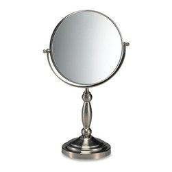 Satin Nickel Two-sided Vanity Mirror - I use my makeup mirror every day. This one is so pretty, and I think it would fit the fun and functional part of my design.