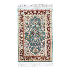 2′ 4″ x 3′ 7″ Turkish Pure Silk Area Rug - Exact Rug Size: 2 ft 4 inch by 3 ft 7 inch