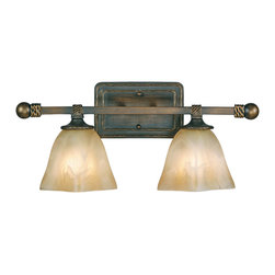 Golden Lighting - Meridian 2-Light Vanity - Diffuse the situation with this vanity light. It distributes light equally with antiqued marble glass shades set atop flat scrolling arms. Its casual, yet classic Mediterranean style provides elegant illumination in the bath.