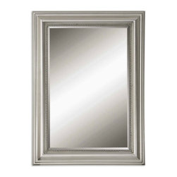 Uttermost - Stuart Silver Leaf w Gray Glaze Rectangular Mirror - This decorative mirror features a wood frame finished in silver leaf with a gray glaze. Mirror is beveled.