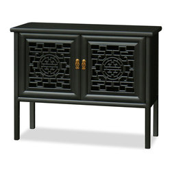 "China Furniture and Arts - Elmwood Longevity Design Ming Cabinet - Built in the Ming Dynasty (1368-1644) furniture style with simple geometric forms and clean lines, this hand crafted elmwood Ming cabinet is skillfully constructed by artisans in China. The interior behind the open carved longevity design doors measures 38.5"" x 13.25"" x 19.5""H. The black matte finish and geometric pattern on the doors complement one another giving the cabinet a sleek appeal. Perfect for a plasma TV for your living room or sideboard for a hallway (includes three built-in media cable outlets)."