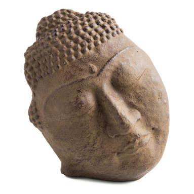 Repose Home - Reposed Silhouette, Antiqued Brown - Buddha's serene, free-standing face will look magnificent in your garden. Cast in elegant, stonewashed volcanic ash and weatherproofed for indoor or outdoor use.