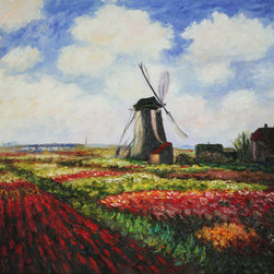"overstockArt.com - Monet - Tulip Field with the Rijnsburg Windmill - 24"" X 36"" Oil Painting On Canvas Hand painted oil reproduction of a famous Monet painting, Tulip Field with the Rijnsburg Windmill. The original masterpiece was created in 1886. Today it has been carefully recreated detail-by-detail, color-by-color to near perfection. Why settle for a print when you can add sophistication to your rooms with a beautiful fine gallery reproduction oil painting? While Monet successfully captured life's reality in many of his works, his aim was to analyze the ever-changing nature of color and light. Known as the classic Impressionist, Monet cannot help but inspire deep admiration for his talent in those who view his work. This work of art has the same emotions and beauty as the original. Why not grace your home with this reproduced masterpiece? It is sure to bring many admirers!"