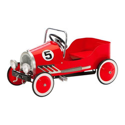 """Morgan Cycle - Morgan Cycle Vintage Retro Pedal Car Riding Toy - Red Multicolor - 21114 - Shop for Tricycles and Riding Toys from Hayneedle.com! Because kids have places to be the Morgan Cycle Red Retro Pedal Car Riding Toy gets them there in style. Whether it's from one side of the playroom to the other or for that long trek down the hallway this riding toy makes sure they arrive on time and safely. About Morgan CycleMorgan Cycle has rejected the current trend to produce cheap disposable plastic products in order to offer discerning parents classic finely crafted ride-on toys that will last for generations and transcend fads. Based in Union N.J. Morgan Cycle was founded by bicycle engineer Sylvester Yen who drew on more than two decades of experience to design the company's line of quality retro toys. Morgan Cycle's first product was the streamlined elegant Morgan tricycle which was inspired by the original 1936 design of Harold Van Doren a pioneering designer in the American Industrial Age who favored """"simple solidity"""" in his style. Morgan Cycle has continued to expand its product line to include a variety of cars scooters bikes sleighs gas pumps and more all characterized by beauty safety and quality craftsmanship."""