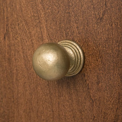 Solid Bronze Round Knob with Tiered Base - With a stunning living Bronze finish, this Solid Bronze Round Knob features a classic design with a tirered base that will complement a variety of home decors.