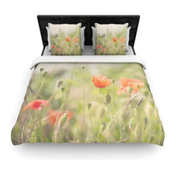 """Kess InHouse - Laura Evans """"Fields of Remembrance"""" Green Orange Fleece Duvet Cover (Queen, 88"""" - You can curate your bedroom and turn your down comforter, UP! You're about to dream and WAKE in color with this uber stylish focal point of your bedroom with this duvet cover! Crafted at the click of your mouse, this duvet cover is not only personal and inspiring but super soft. Created out of microfiber material that is delectable, our duvets are ultra comfortable and beyond soft. Get up on the right side of the bed, or the left, this duvet cover will look good from every angle."""