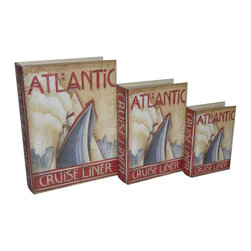 Cheung's - Home Set Of 3 Book Box With Vintage Atlantic Cruise Liner Theme Printed On Vinyl - Nested for Space Saving. Felt Lining.