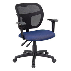 Flash Furniture - Mid-Back Mesh Task Chair with Navy Blue Fabric Seat and Arms - Upgrade your standard mesh office chair with this multi-functional version. When you need more adjusting capabilities than your standard office mesh chair this will exceed your expectations. The breathable mesh back keeps you cool when sitting for long periods of time. The firm, comfortably padded seat will keep you at ease during work or while leisurely browsing. Whatever your need this chair will perform for you!