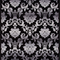Jaipur Rugs - Transitional Floral Pattern Gray /Black Viscose/Chenille Rug - FB25, 5x7.6 - Every design tells a story with the Fables Collection. This broad range, crafted in machine-tufted polyester & ultra-soft chenille, brings any space to life with its fashion-forward color palettes. With options suited to many styles and aesthetics, Fables brings together a diverse collection of patterns ranging from sophisticated transitional to boldly scaled contemporary.