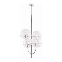 """Arteriors - Arteriors Gallagher Chandelier - This simple yet elegant 4 light chandelier has four 10"""" clear glass spheres that are suspended by polished nickel rings and slim elegant arms. Shown with antique Edison bulbs. Additional pipe available (PIPE-103)."""