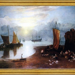 """Joseph William Turner-18""""x24"""" Framed Canvas - 18"""" x 24"""" Joseph William Turner Sun Rising through Vagour; Fishermen Cleaning and Sellilng Fish framed premium canvas print reproduced to meet museum quality standards. Our museum quality canvas prints are produced using high-precision print technology for a more accurate reproduction printed on high quality canvas with fade-resistant, archival inks. Our progressive business model allows us to offer works of art to you at the best wholesale pricing, significantly less than art gallery prices, affordable to all. This artwork is hand stretched onto wooden stretcher bars, then mounted into our 3"""" wide gold finish frame with black panel by one of our expert framers. Our framed canvas print comes with hardware, ready to hang on your wall.  We present a comprehensive collection of exceptional canvas art reproductions by Joseph William Turner."""