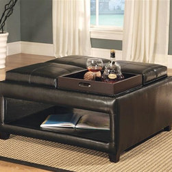 Asia Direct Home - Square Ottoman with Shelf and Tray Tops - This versatile ottoman is a must have for your entertainment room. It works both as a ottoman and coffee table. The four PU covered seat cushions also serves as serving trays for your food and snacks. The bottom shelf is open storage to keep you organized.