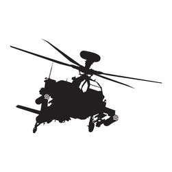 Military Apache Helicopter Wall Decal - Some wall decals may come in multiple pieces due to the size of the design.