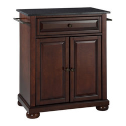 Crosley - Alexandria Solid Black Granite Top Portable Kitchen Island in Vintage Mahogany - Constructed of solid hardwood and wood veneers, this kitchen island is designed for longevity. The beautiful raised panel doors and drawer front provide the ultimate in style to dress up your kitchen. The deep drawer are great for anything from utensils to storage containers. Behind the two doors, you will find an adjustable shelf and an abundance of storage space for things that you prefer to be out of sight. Style, function, and quality make this kitchen island a wise addition to your home.