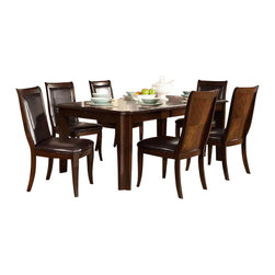 Homelegance - Homelegance Wolfe 7-Piece Rectangular Dining Room Set in Medium Brown - A timeless design for your casual dining room is the Wolfe collection. Concave accents carry from the substantial table legs through to the chairs in this transitional offering. The book match birch veneer of the table top is highlighted by the medium brown finish. Further complimenting the finish is the dark brown bi-cast vinyl that covers the seat and back of the uniquely framed chair.