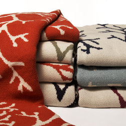 Coral Eco Knit Throw - Coral throw is knit with a blend of recycled cotton yarn and made in the USA.