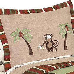 Sweet Jojo Designs - Monkey Pillow Sham - The Monkey standard pillow sham is created exclusively to coordinate with the Sweet Jojo Designs matching bedding set. This pillow sham is a quick and easy way to complete the look and theme in your child's bedroom. Machine washable. Fits all standard sized pillows. Dimensions: 20in. x 26in.