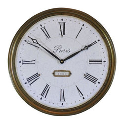 """Used Large Timeworks Regency City Lights Paris Clock - Wonderful antiqued face round clock with antiqued """"brass"""" metal frame. It says Paris and 1906 on the face and is from a retired decorator shop. It has a battery operated quartz movement - brand new!"""