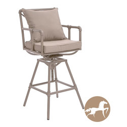 Christopher Knight Home - Christopher Knight Home Northrup Pipe Outdoor Adjustable Barstool - The Northrup pipe outdoor barstool combines a modern, angular pipe frame with the convenience of outdoor cushions. You can comfortably relax at your outdoor bar or pub table and adjust the stool's height accordingly.
