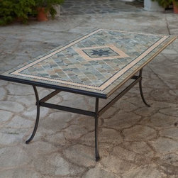 Palazetto Barcelona 84 x 42 in. Mosaic Patio Dining Table - A work of art that also provides practical function, the Alfresco Home Barcelona 84 x 42 in. Mosaic Patio Dining Table is sure to be a big hit at your family gathering or dinner party, thanks to its classic Italian design and upscale appeal. It comfortably seats up to eight people and features a plugged umbrella hole so you can add some shade at any time. Hand-laid mosaic tiles combine with a hand-forged wrought iron table base to make a look that's decidedly eye-catching. Jewel-toned shades of blue and green are accented with beige and brown earth tones to bring a warm, welcoming feel to your outdoor dining area. And because these tiles are hand-set, each Barcelona table is truly one of a kind!The mosaic tiles are hand-set and grouted with industrial adhesives for maximum durability. What this means is if the mosaic top gets wet, the grout won't dry out and crack like traditional standard grout would. The top is then finished and sealed with an industrial-grade sealant called Fluorocarbon for superior protection. Natural wear and tear of elements may lead to blistering of the silicone top seal and natural aging of the tile materials. The hand-forged wrought-iron table frame is dipped in a zinc-phosphate bath and then electrostatically coated to help make a weather-resistant coating to delay the onset of rust. Following a quality check for strength and durability, iron welds are ground for aesthetic appeal. Finally, a powder-coated finish is applied and baked onto the iron for stronger color and protection. As fetching as it is functional, this is a piece that will never go out of style.About Alfresco HomeOffering a wide selection of fashionable products, from casual furniture and garden lighting to permanent botanicals and seasonal decor, Alfresco Home casual living products offer a complete line of interior and exterior living furnishings and accents. Based out of King of Prussia, Penn., Alfresco Home continues to blend indoor and outdoor furniture to make a lifestyle of alfresco living inside and outside of the home. Inlaid mosaic tabletops, fine hardwood furnishings, artisan-inspired accents, premium silk botanicals, and all-weather wicker sets are just a few examples of the kind of treasures you'll find in Alfresco's specially designed collections.